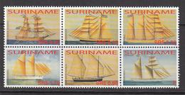 2005 Surinam Sailing Ships  Complete Block Of 6   MNH - Suriname