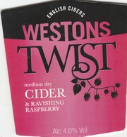WESTONS CIDER (MUCH MARCLE, ENGLAND) - RAVISHING RASPBERRY - PUMP CLIP FRONT - Signs