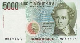 ITALY 5000 LIRE 1996 P-111c UNC SIGN. FAZIO & AMICI [IT461c] - [ 2] 1946-… : République
