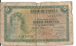 ESPAGNE 5 PESETAS 1935 VG P 85 - [ 2] 1931-1936 : Republiek