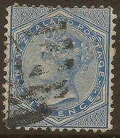 NZ 1874 6d Blue QV SG 156 U #LS15 - Used Stamps