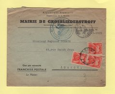 Mairie De Grosbliederstroff Pour Nancy - Taxe 30f  - Taxe Simple - Poststempel (Briefe)