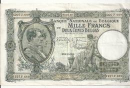 BELGIQUE 1000 FRANCS 1940 VF P 110 - [ 2] 1831-... : Belgian Kingdom