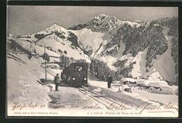 CPA Caux En Hiver, Train De Montagne Hält Im Schnee - VD Vaud
