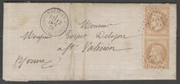 Seine Et Marne:  G.C.1325 Sur N°28B (paire) + CàD DONNEMARIE-EN-MONTOIS(73) Sur LAC De 1870 - Marcophilie (Lettres)