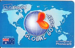 AUSTRALIA - Australian Flag & World Map, Global Gossip Recharge Card, Used - Australia