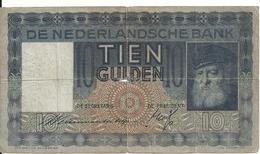 NETHERLANDS 10 GULDEN 1938 VG P 49 - [2] 1815-… : Kingdom Of The Netherlands