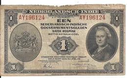 NETHERLANDS INDIES 1 GULDEN 1943 VG+ P 111 - Indie Olandesi