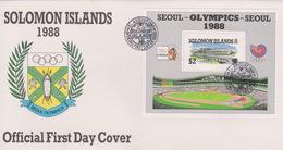 Solomon Islands 1988 Seoul Olympics Souvenir Sheet FDC - Solomon Islands (1978-...)