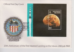 Solomon Islands 1989 20th Anniversary Moonlanding Souvenir Sheet FDC - Solomon Islands (1978-...)