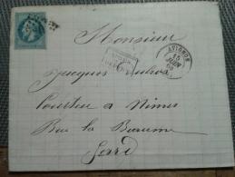 FRANCE  Napoléon III Lauré 20 Cts Bleu - Cachet Aprés Départ - Avignon - 1863-1870 Napoléon III Lauré