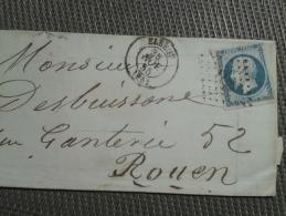 FRANCE  Napoléon III ND  20 Cts Bleu - Elbeuf - 1853-1860 Napoléon III
