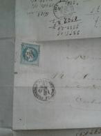 FRANCE  Napoléon Sur Lettre 20 Cts Lauré - 1853-1860 Napoléon III