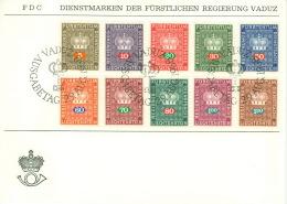 Liechtenstein Dienst 45/52,54/55 FDC Sonderstempel - Official