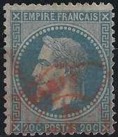 Napoléon III 1865 N°29 Type I 20c Bleu Obl Rouge Ondulé Des Imprimés Paris TTB - 1863-1870 Napoléon III Lauré
