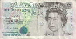 ENGLAND 5 POUNDS 1990 VF P 382 A - 1952-… : Elizabeth II