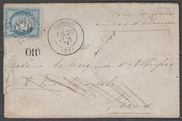 Seine Et Marne:  G.C.820 Sur N°60A + CàD CESSON(73) Sur LSC De 1874 - Marcophilie (Lettres)