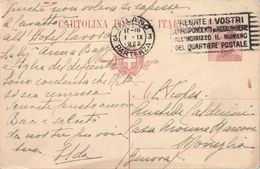 INTERO POSTALE TIPO MICHETTI C.25 MILLESIMO 1921 - CATALOGO FILAGRANO C49/215 - DA MILANO A MONEGLIA 1.9.1922 - 1900-44 Victor Emmanuel III