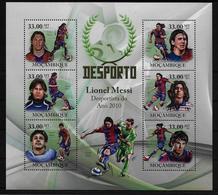 MOZAMBIQUE  Feuillet  ( 2010 )  * * Football Soccer Fussball Messi - Neufs