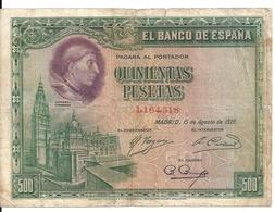 ESPAGNE 500 PESETAS 1928 VG+ P 77 - [ 1] …-1931 : First Banknotes (Banco De España)