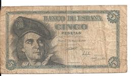 ESPAGNE 5 PESETAS 1948 VG+ P 136 - [ 3] 1936-1975 : Regency Of Franco