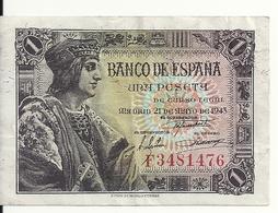 ESPAGNE 1 PESETA 1943 VF P 126 - [ 3] 1936-1975 : Regency Of Franco