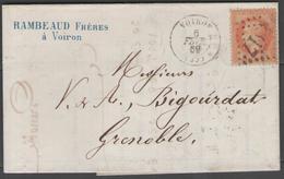 Isère:  G.C.4317 Sur N°31 + CàD VOIRON(37) Sur LAC De 1869 - Marcophilie (Lettres)