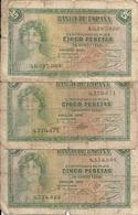 ESPAGNE 5 PESETAS 1935 VG P 85 ( 3 Billets ) - [ 2] 1931-1936 : Republic