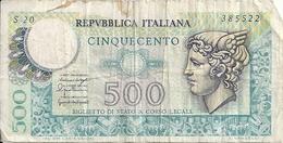 ITALIE 500 LIRE 1976 VG+ P 95 - [ 2] 1946-… : Républic
