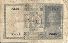 ITALIE 10 LIRE 1939-44 VG+ P 25 A - [ 1] …-1946 : Royaume