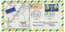 """2 Enveloppes Avion 11 Cm X 22 Cm - DAURAT - VANIER - Carte De """"La Ligne"""" Dessinée Par Mermoz - Ayant Voyagé - Posta Aerea"""