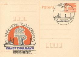 DDR Ganzsache PP19 Pionierschiff Sonderstempel Rostock - DDR