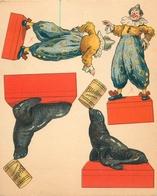 """""""CIRQUE - OTARIE DRESSEE"""" - FICHE à DECOUPER POUR MONTAGE D'une CARTE à SYSTEME - (13 X 15 Cm)-ILLUSTRATEUR DANSLER - Confiserie & Biscuits"""