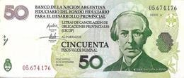 Argentina 50 Pesos BANCO DE LA NACIÓN (LECOP) Emergency Note, Alberdi 2006 VF+ - Argentina