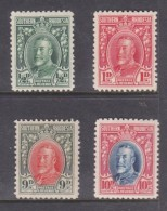 Southern Rhodesia, George V, Field MArshal, 1/2d, 1d, 9d, 10d, Perf 12, MH * - Southern Rhodesia (...-1964)
