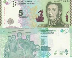 Argentina P359, 5 Pesos, Gen Martin / Artigas, Bolívar, San Martin,O'Higgins UNC - Argentina