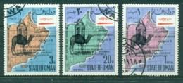 Oman State Of 1968 Empty Quarter, Camel & Map Opt Apollo 8 Space Achievement (3v)CTO - Oman