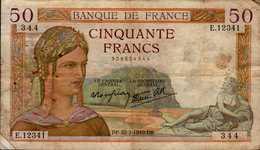 BANQUE DE FRANCE   BILLET DE 50F  1940 - 1871-1952 Anciens Francs Circulés Au XXème