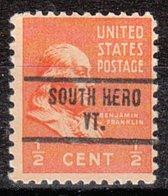USA Precancel Vorausentwertung Preo, Locals Vermont, South Hero 734 - Etats-Unis