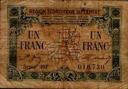 REGION ECONOMIQUE DU CENTRE   UN FRANC   .. - France