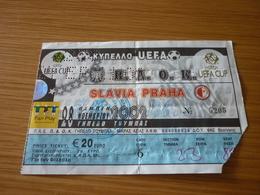 PAOK-Slavia Praha Prague UEFA CUP Football Match Ticket Stub 28/11/2002 - Match Tickets