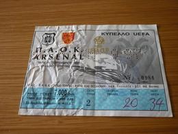 PAOK-Arsenal UEFA CUP Football Match Ticket Stub 16/09/1997 - Match Tickets