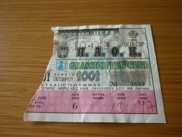 PAOK-Grasshopper Club Zurich UEFA CUP Football Match Ticket Stub 31/10/2002 - Match Tickets