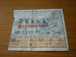 PAOK-FC Marila Pribram UEFA CUP Football Match Ticket Stub 18/10/2001 - Match Tickets