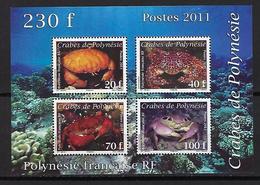 """Polynésie Bloc YT 37 BF """" Les Crabes """" 2011 Neuf** - Blokken & Velletjes"""