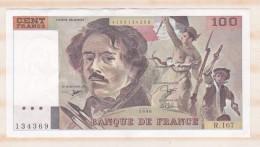 100 Francs Delacroix 1990 Alphabet R 167 N 134369 Billet P/Neuf - 1962-1997 ''Francs''