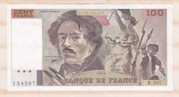 100 Francs Delacroix 1990 Alphabet R 167 N 134367 Billet P/Neuf - 1962-1997 ''Francs''