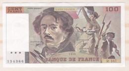 100 Francs Delacroix 1990 Alphabet R 167 N 134366 Billet P/Neuf - 1962-1997 ''Francs''