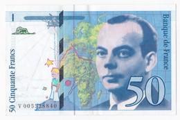 50 Francs St Exupéry 1993 Série V00528840 , Billet Neuf. - 1992-2000 Ultima Gama