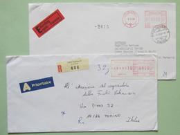 """EMA, Svizzera, Lotticino Di Buste E Frammenti Fra Cui """"Swiss Post FRANCE"""", Port Payè 4 Meter Diversi (4 Scan) - Affrancature Meccaniche"""